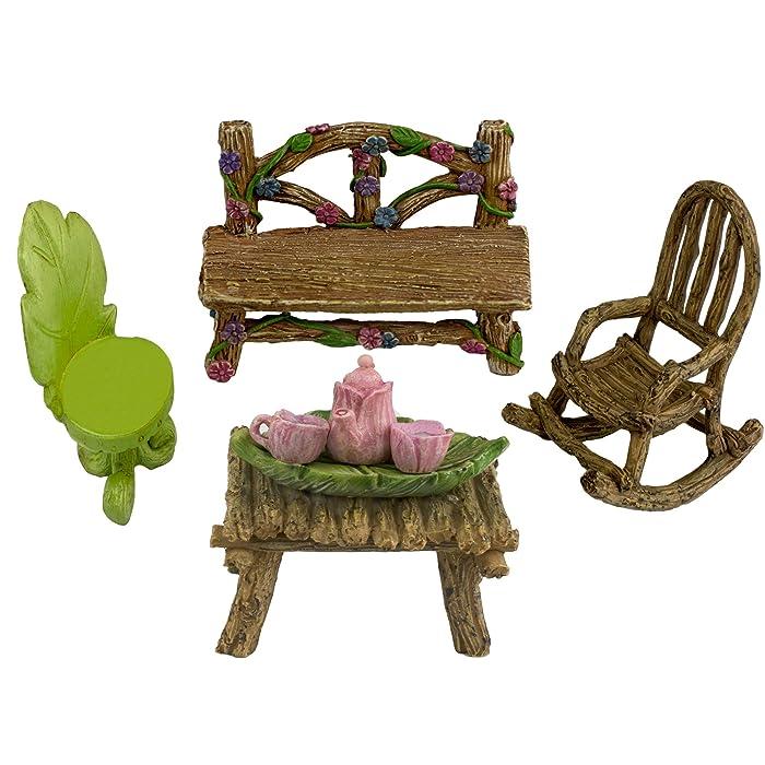Twig & Flower The Super Cute Miniature (Eight Piece) Fairy Garden Furniture & Tiny Tea Set