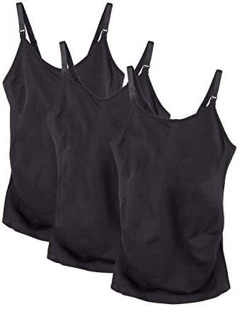 bde188f4ec5 Caramel Cantina 3 Pack Women's Nursing Cami Built in Bra (Small, 3PK Black)
