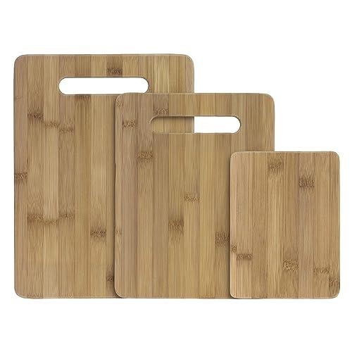 Totally Bamboo Juego de tablas de cortar y servir de bambú de 3 piezas