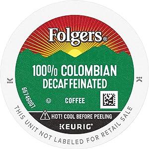 Folgers 100% Colombian Decaf Medium Roast Coffee, 12 K Cups for Keurig Coffee Makers