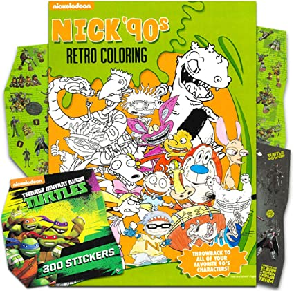 Amazon.com: 90s Nickelodeon Coloring Book For Adults Relaxation Set ~  Advanced Nick Coloring Book Featuring Rugrats, Hey Arnold, Ren And Stimpy,  And More With Stickers (Nickelodeon Coloring Books For Adults): Toys &