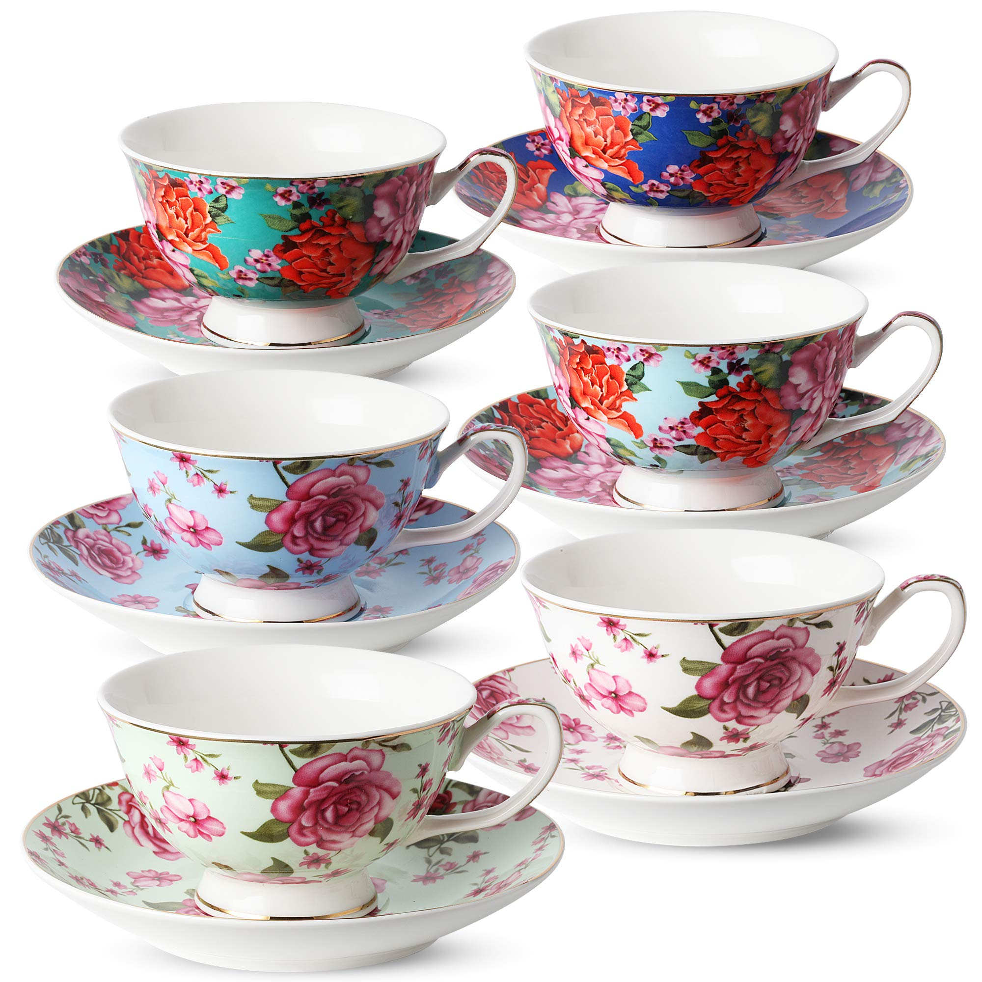 BTäT- Tea Cups, Tea Cups and Saucers Set of 6, Tea Set, Floral Tea Cups (7oz), Cappuccino Cups, Latte Cups, Tea Set for Adults, Porcelain Tea Cups, Tea Cups for Tea Party, Rose Teacups, China Tea Cups