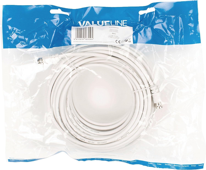 Valueline VLSP41000W200 cavo coassiale 20 m Coax Bianco