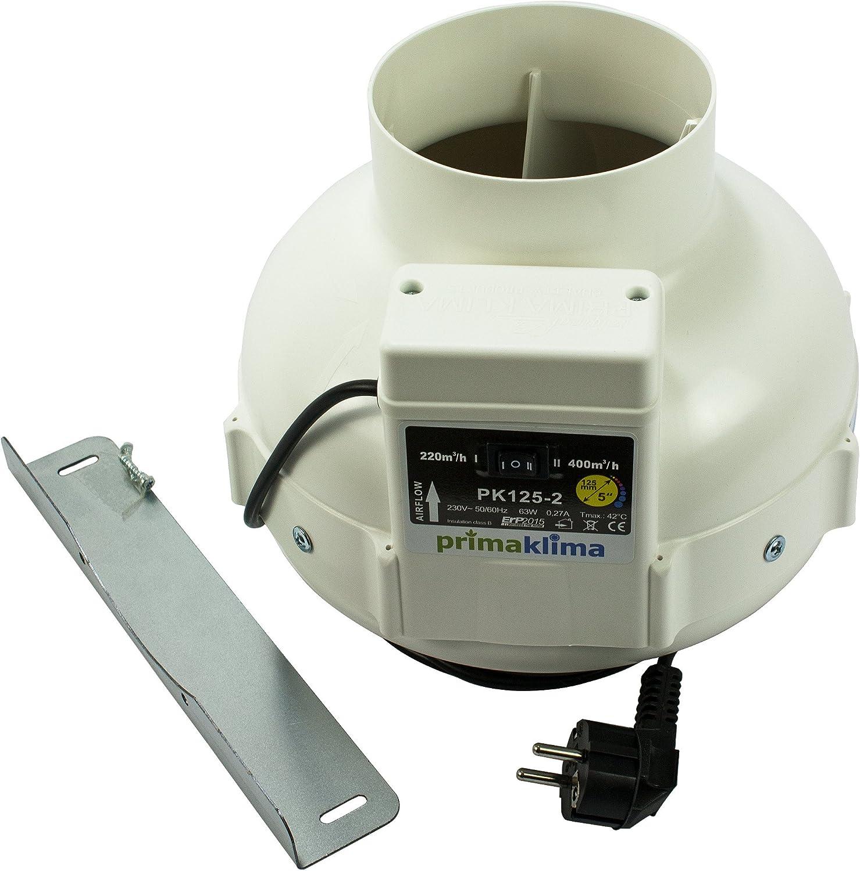 RVK Prima Klima Rohrventilator 400 m/³//h 125mm mit Temperaturkontrolle PK125