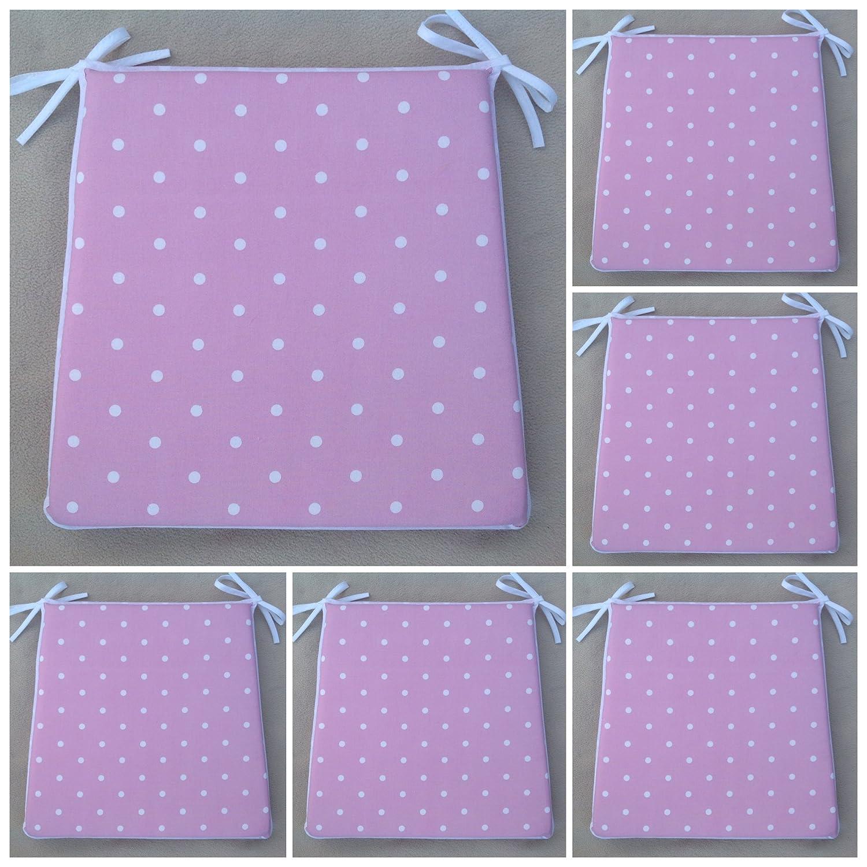 Un conjunto de 6 rosa de lunares almohadillas de asiento de la silla (para asientos aprox. 16