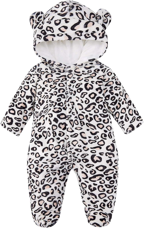 0-18M Newborn Baby Kids Warm Hooded Cartoon Cute Romper Jumpsuit Clothes Costume