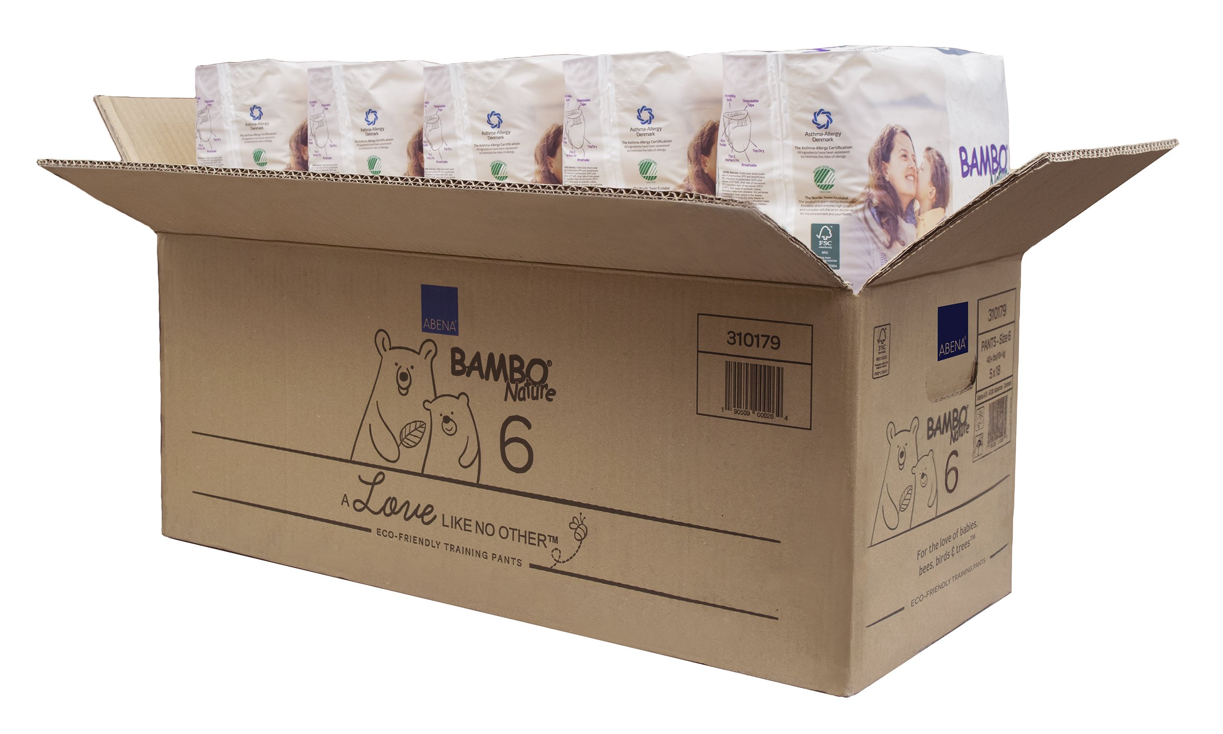 Bambo Nature Eco Friendly Premium Training Pants for Sensitive Skin, Size 6 (40+ lbs), 90 Count (5 Packs of 18)