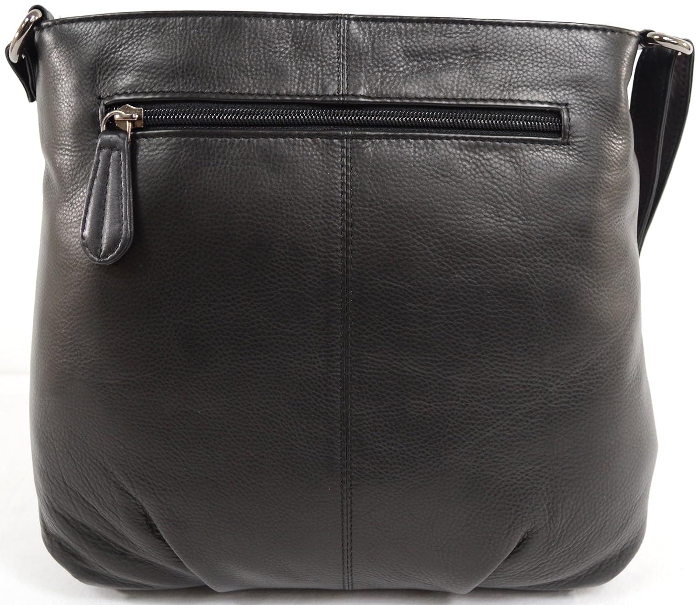 Snugmattor kvinnors mjuka premium läder korskropp/axelväska Svart