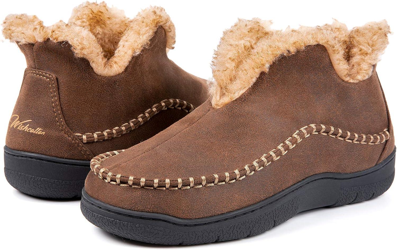Wishcotton Men's Microsuede Fuzzy Warm Fleece Lining Moccasin Slippers Cozy Memory Foam Indoor Outdoor House Shoes