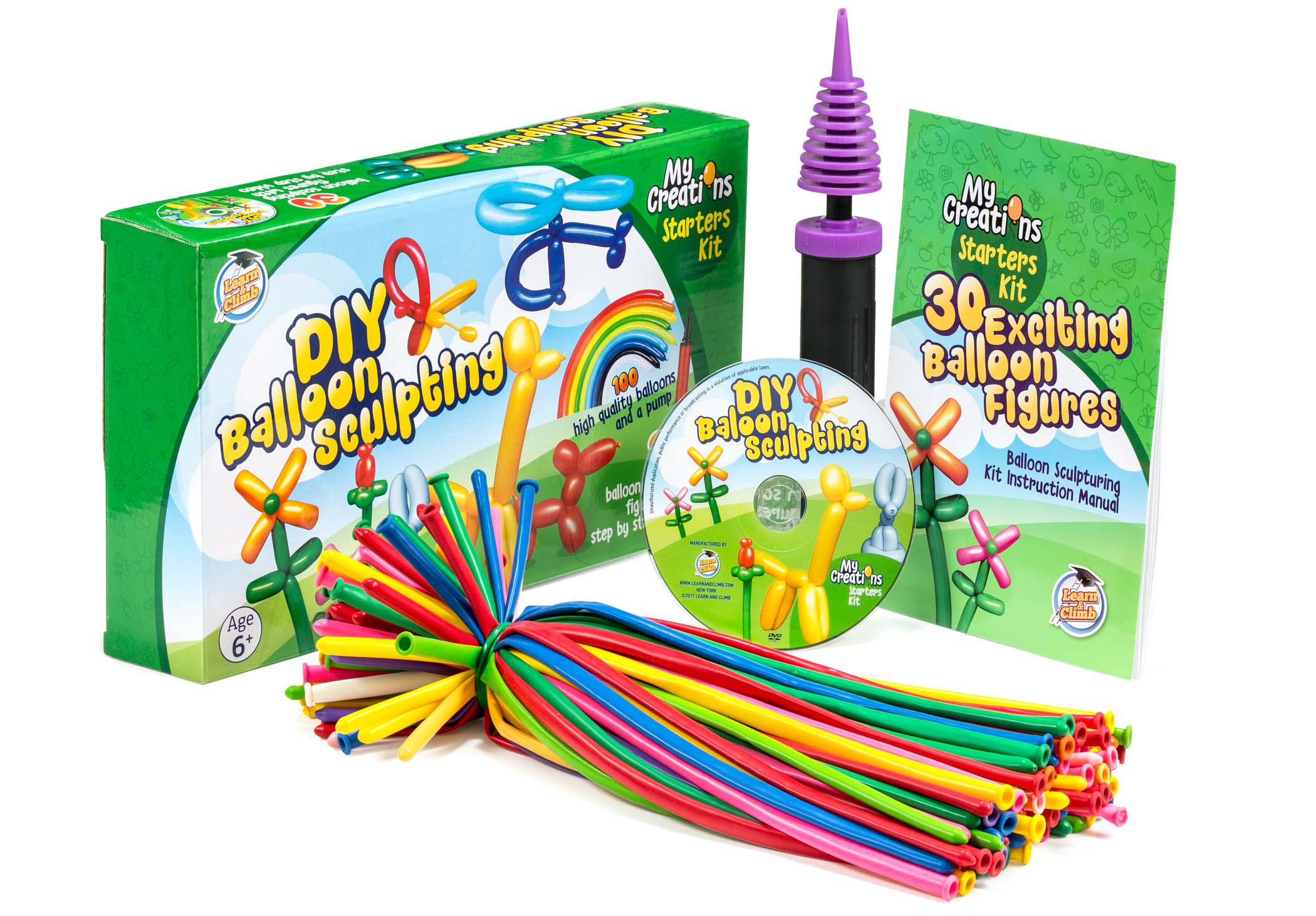 DIY Balloon Animal Kit for beginners. Twisting & Modeling balloon Kit 30 + Sculptures ,100 Balloons for balloon animals , Pump, Manual + DVD. Party Fun Activity/Gift for, Teens Boys and Girls.