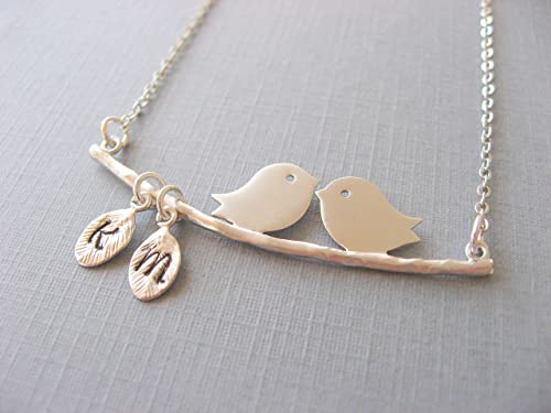 personalized bird and branch necklace,love bird necklace,gold or silver  bird necklace,gift for mom,couple bird necklace,initial necklace