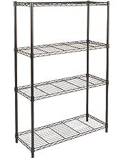 AmazonBasics 4-Shelf Shelving Unit, up to 160 kg per shelf, Black