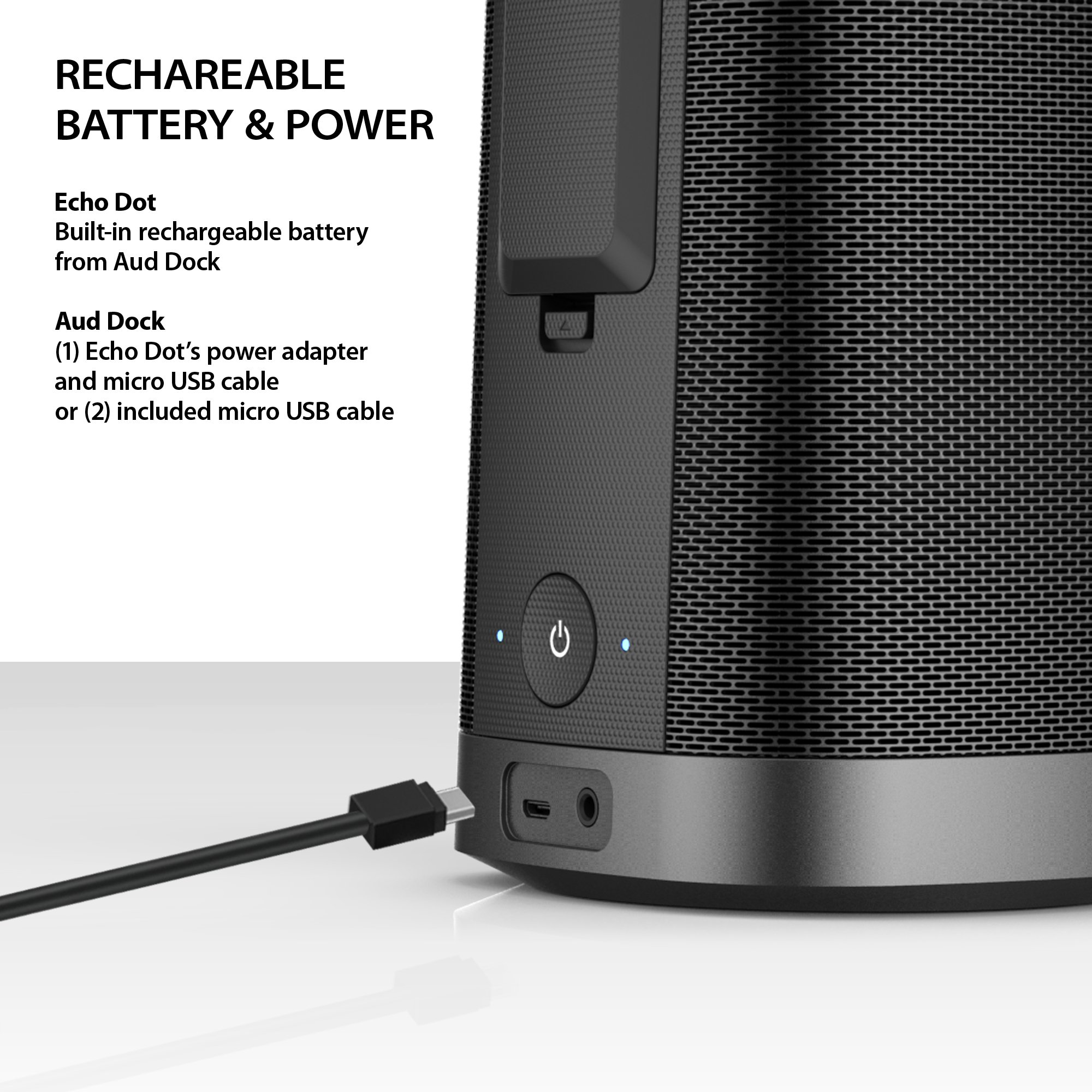 iLuv Aud Dock, Amazon Echo Dot Docking Audio Speaker with Powerful Dynamic Digital Sound, Portability, Plug & Play, Aux-in Port, Rechargeable Battery, and Micro USB Cable (Black) by iLuv (Image #7)
