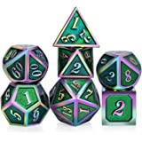 Green DNDND Metal Dice,7PCS Polyhedral Metallic Green Colorful D&D Gaming Dice Set with Free Metal Tin for Dungeons and Dragons Roll Playing Game