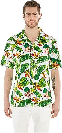 Camisa Hawaiana Hawaii para Hombres con Mangas Hawaianas Camisa Hawaiana Ave del Paraiso: Amazon.es: Ropa y accesorios