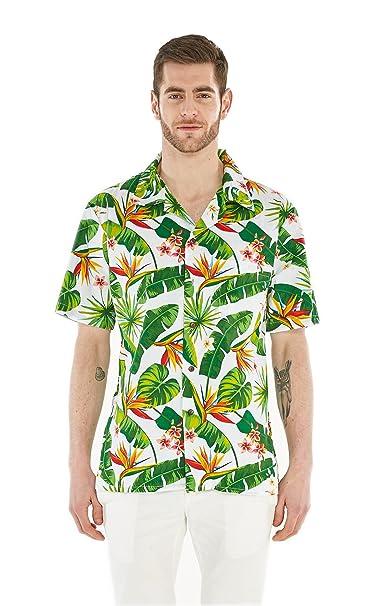 8c111b2ef Camisa Hawaiana Hawaii para Hombres con Mangas Hawaianas Camisa Hawaiana S  Ave del Paraiso Blanco