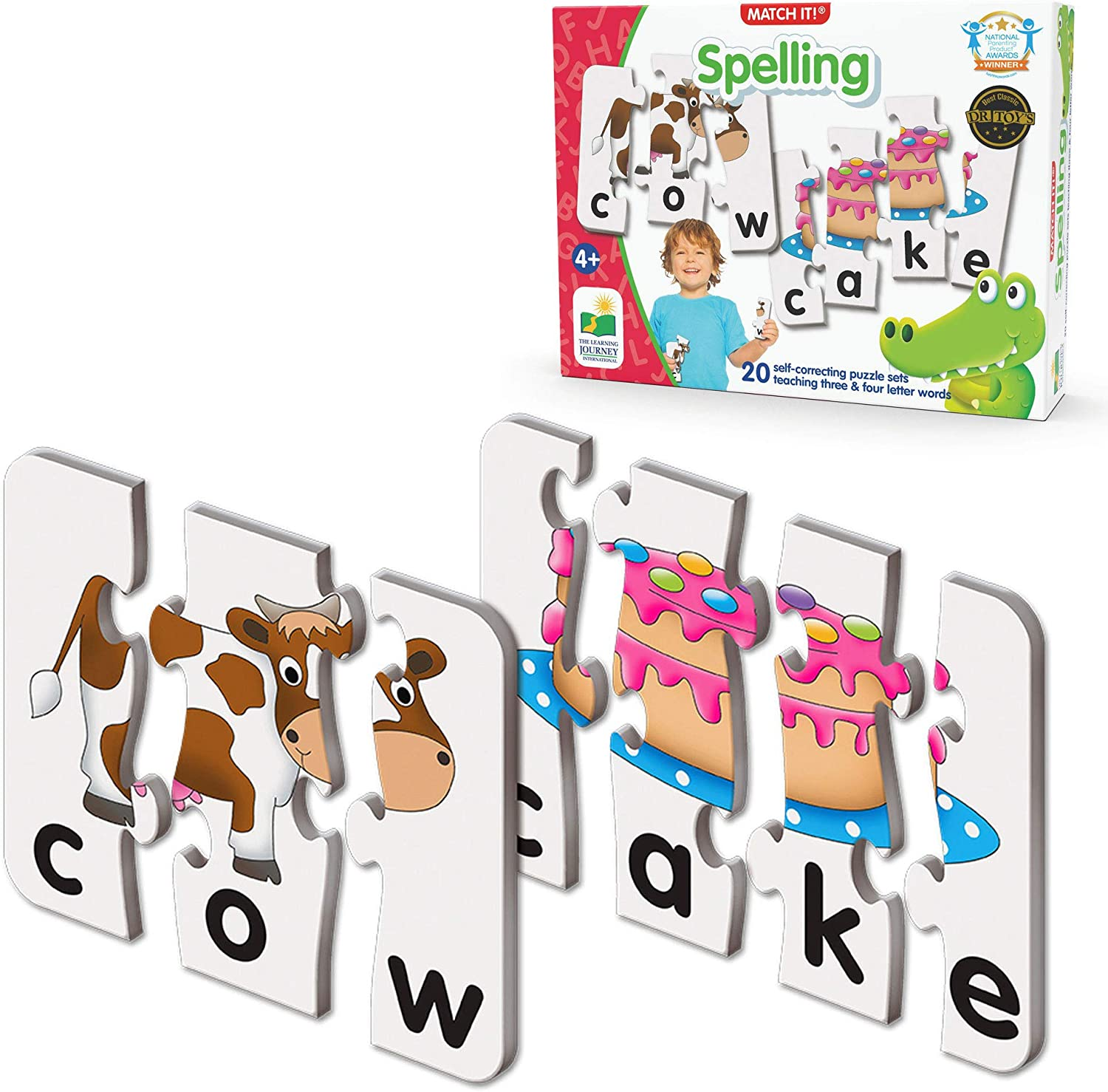 Amazon Com The Learning Journey Match It Spelling 20 Piece Self Correcting Spelling Puzzle For Three And Four Letter Words With Matching Images Learning Toys For 4 Year Olds Award