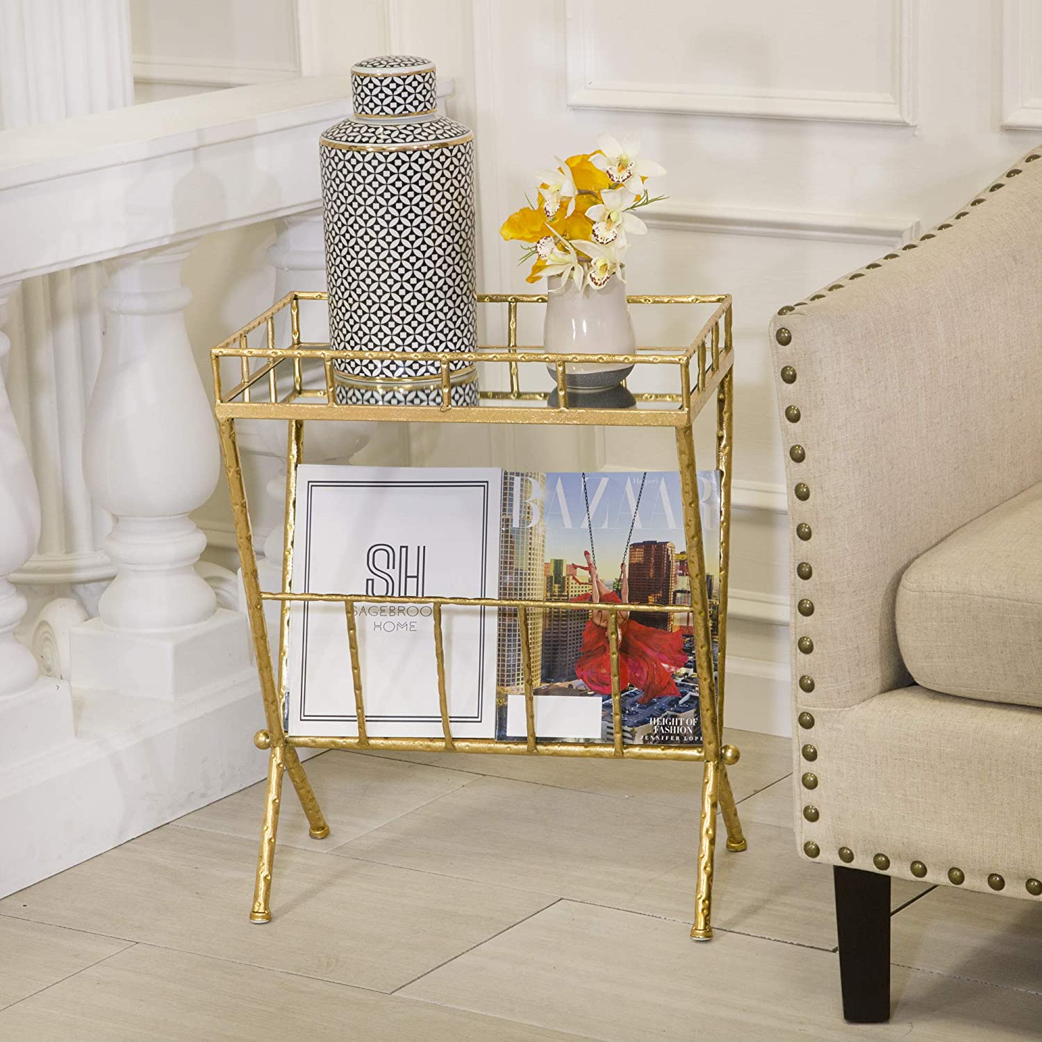 Sagebrook Home Metal & Glass Magazine Rack Accent Table, Gold Metal/Mirror/Mdf, 18 x 12 x 23.25 Inches