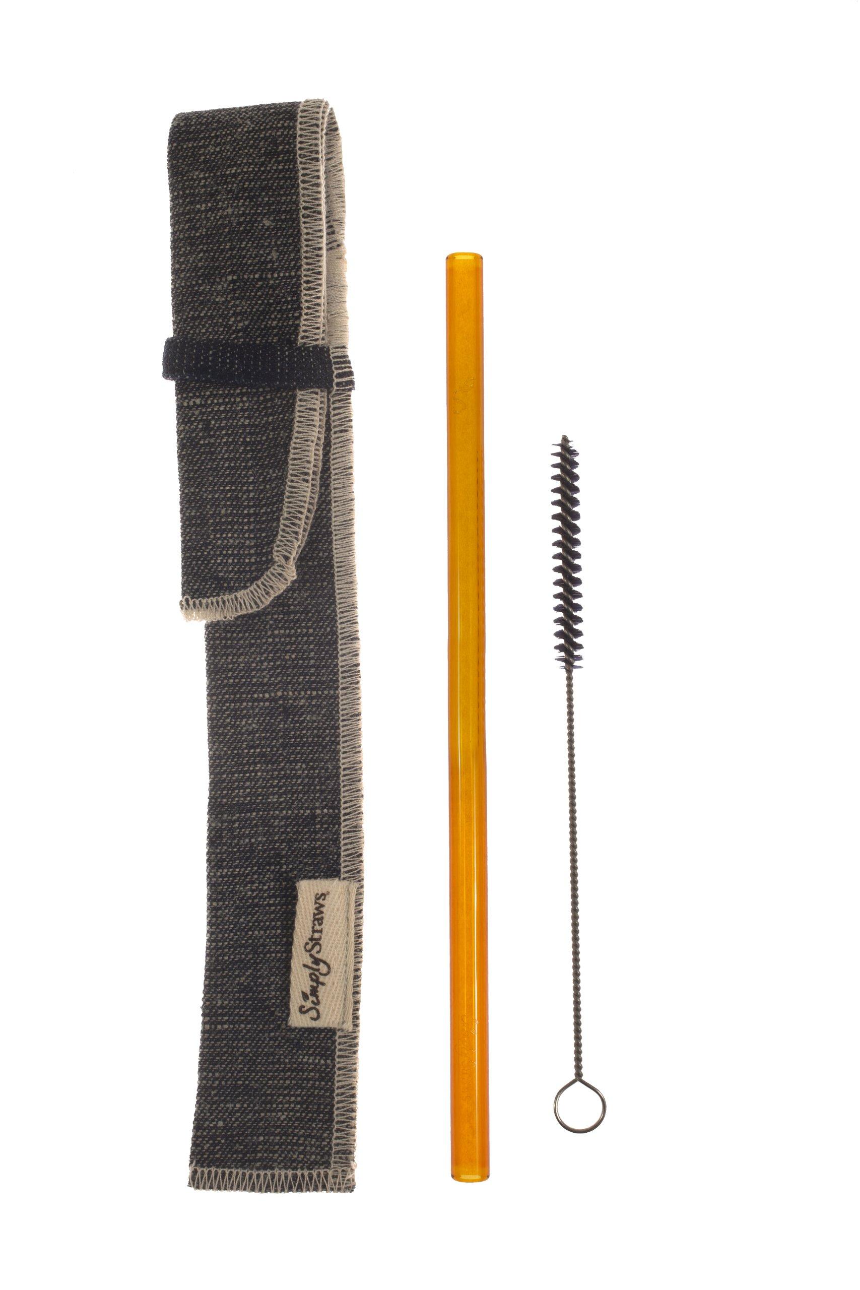 Simply Straws Single Sleeve Set, 1 Classic 8-Inch Amber Straw, 1 Reverse Denim Sleeve and 1 Brush