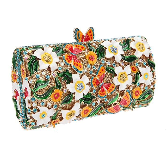 Amazon.com: bonjanvye mariposa cadena de embrague cartera ...