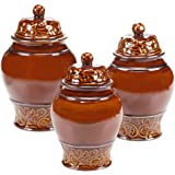 Certified International 57631 3 Piece Solstice Canister Set, Brown