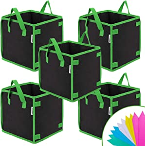 VIVOSUN 5 Pack 10 Gallon Square Grow Bags, Thick Fabric Bags with Handles for Indoor and Outdoor Garden