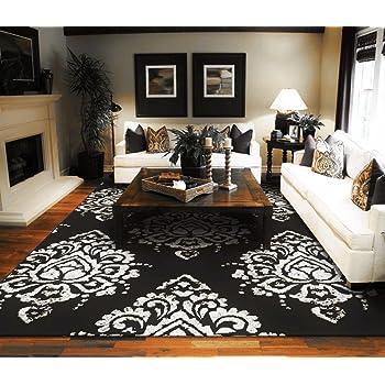 New Modern Rugs For Living Room Black U0026 Cream Flower Rugs Leaves Rugs 5x7  Black Contemporary Rugs For Bedroom, 5x8 Rugs