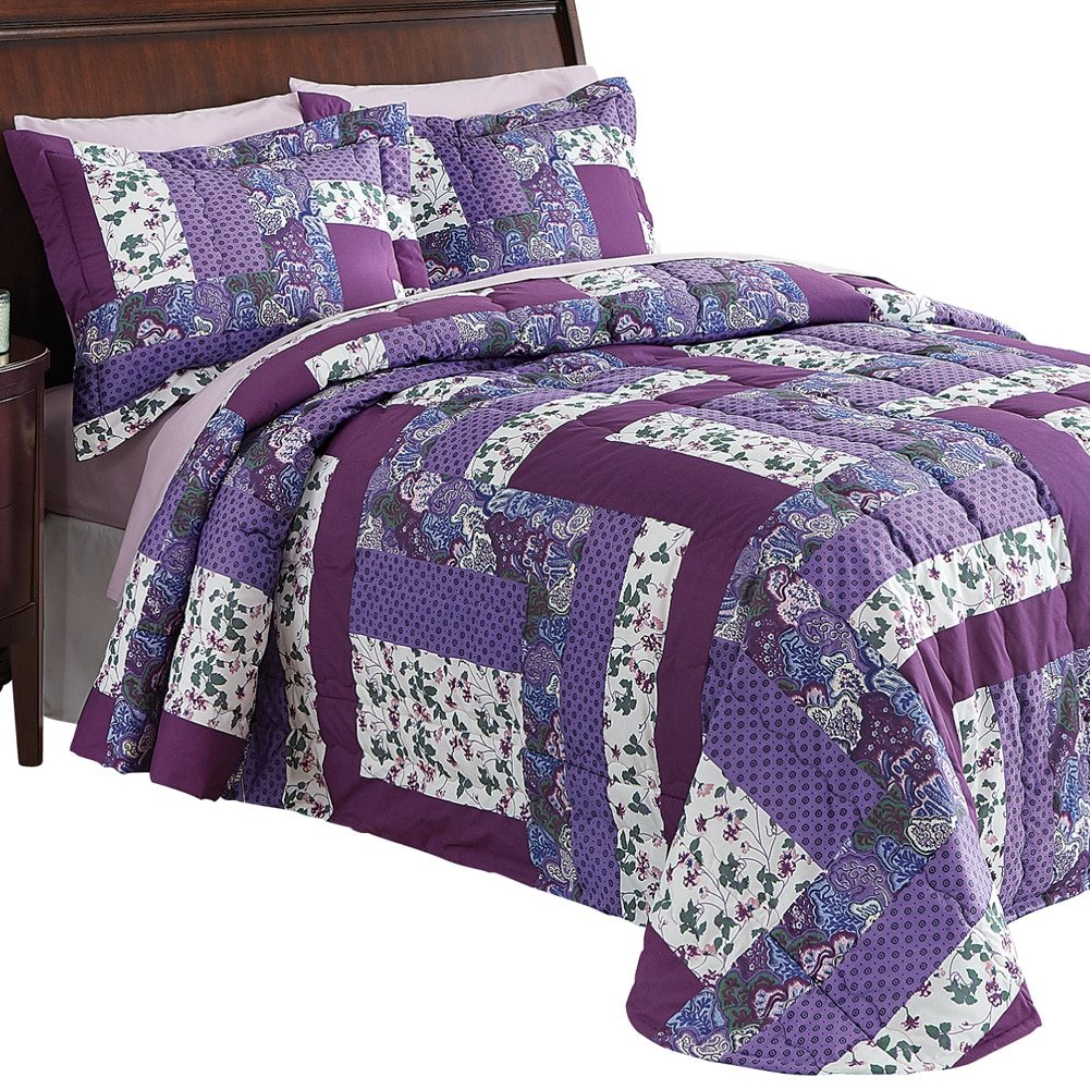Collections Etc Caledonia Lavender Floral Patchwork Quilted Medium-Weight Bedspread, Purple, Queen