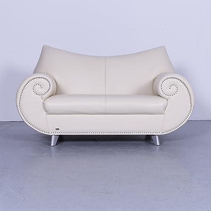 Amazon.com: Bretz Gaudi Leder Sofa Creme Weiß Zweisitzer Couch ...