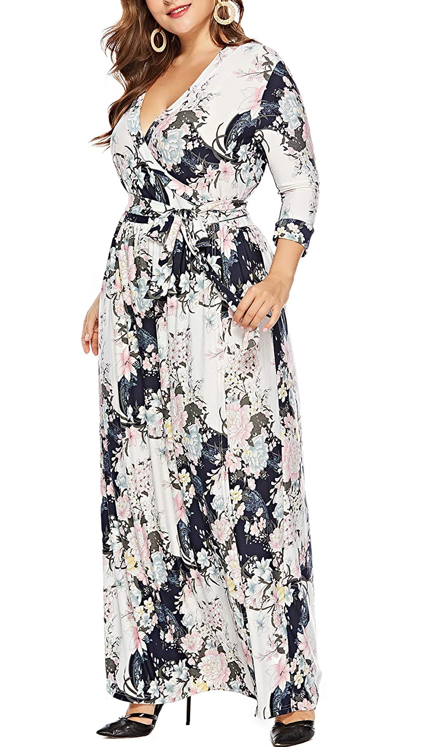d617450cc916a Long Sleeve Floral Maxi Dress Plus Size - raveitsafe