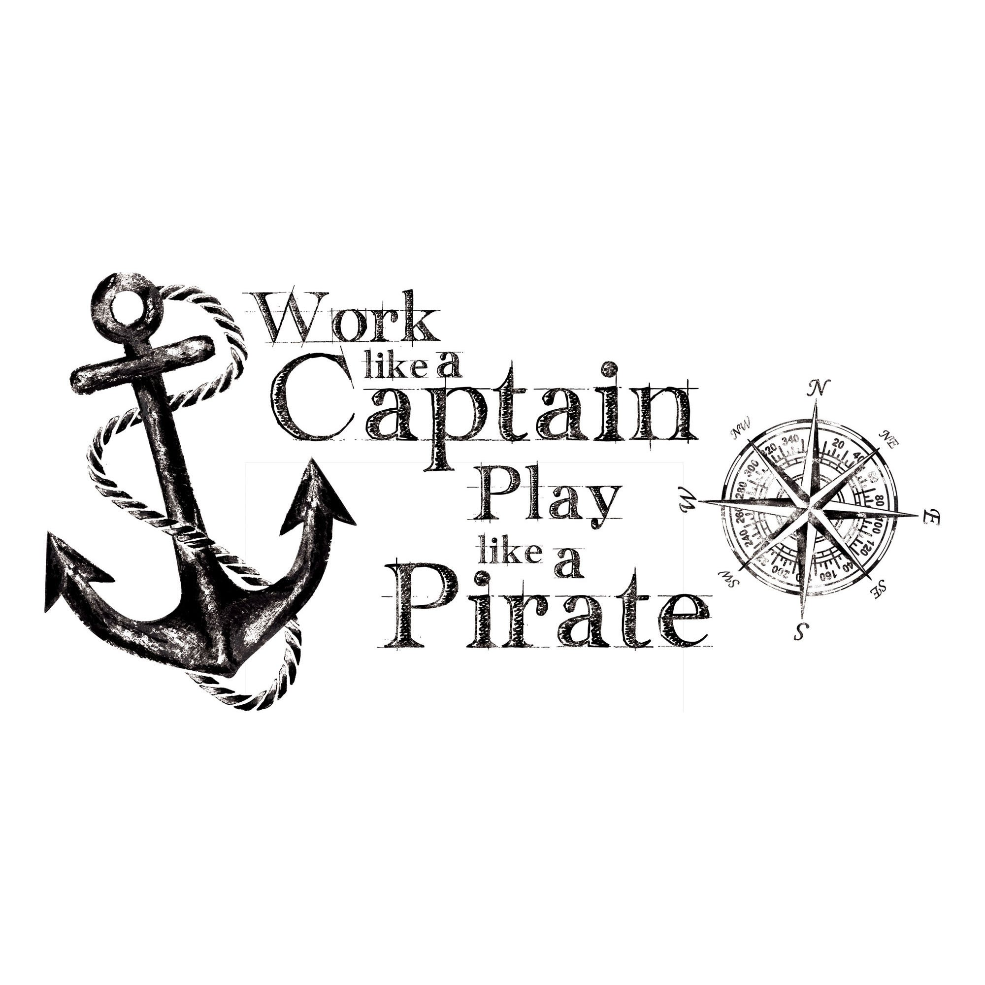 RoomMates RMK2320GM Work Like A Captain Quote Peel and Stick Wall Decals by RoomMates