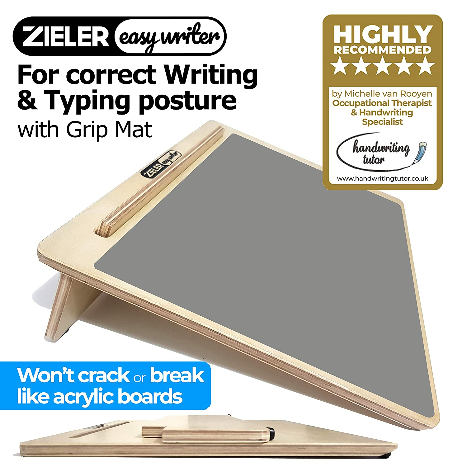 Ergonomic A3 Writing Slope with Grip MAT for Better Writing Posture & Comfort - by ZIELER Easywriter, Lacquered Wood with 20° Angle. Suitable for Children & Adults. Space Saving Design