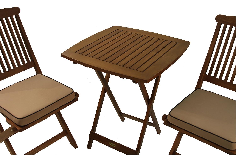 Amazon.com: Outdoor Interiors Eucalyptus 3 Piece Square Bistro Outdoor  Furniture Set   Includes Cushions: Garden U0026 Outdoor