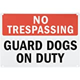 """SmartSign Plastic Sign, Legend """"No Trespassing Guard Dogs on Duty"""", 10"""" high x 14"""" wide, Black/Red on White"""