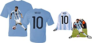 Messi Jersey Style T-Shirt Kids Argentina Lionel Messi Jersey T-Shirt Gift Set Youth Sizes ✓ Premium Quality ✓ ✓ Soccer Backpack Gift Packaging