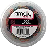 500 Count Rubber Bands in Re-closable Container for Ponytails and Braids (Assorted Colors)