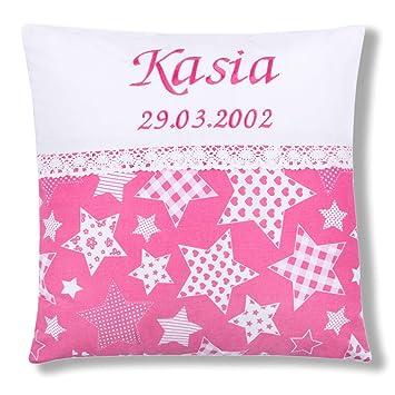 Amilian/® Kissen 40 x 40 cm mit Namen Datum Sternchen Wei/ß auf Rosa