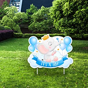 IT'S A BOY Blue Yard Signs with Stakes – Includes Crown, Elephant, and Balloon Signs – Weather-Resistant Signs and Stakes-Welcome Home Baby Lawn Sign- Gender Reveal Baby Shower