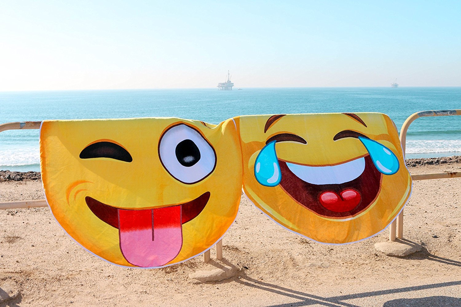 Crying Laughing Emoji Round Towel Chiffon Roundie Cry Laugh Face Circle Beach Blanket Gigantic Emoji Chiffon Towel by CHARM HOME (Image #2)