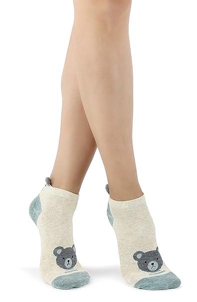 Calcetines de algodón de animales para mujeres con diseño de orejas levantadas esponjosas (Avena verde