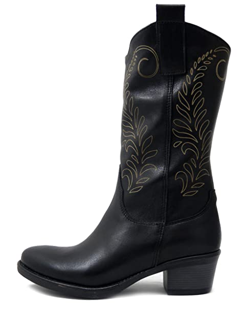 ed761ea72f Stivali Donna Texani in Pelle Nero, Tacco Basso 4 cm, Martina 23052 ...