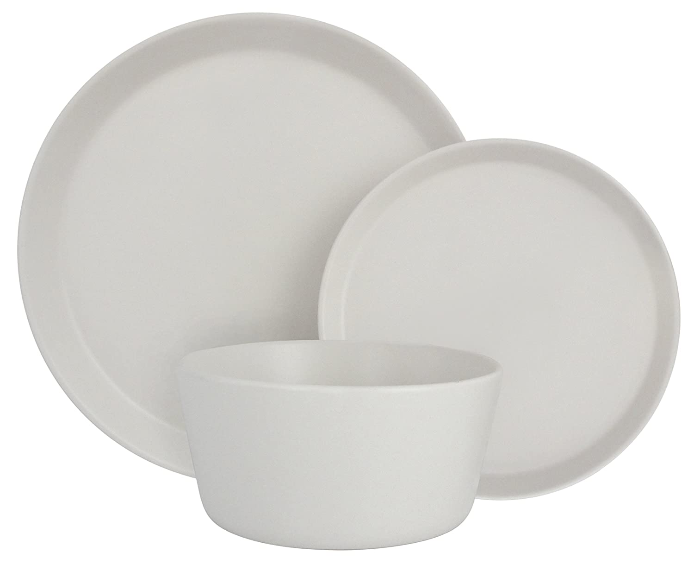 Melange Stoneware 18-Piece Dinnerware Set (Moderno White)   Service for 6  Microwave, Dishwasher & Oven Safe   Dinner Plate, Salad Plate & Soup Bowl (6 Each)
