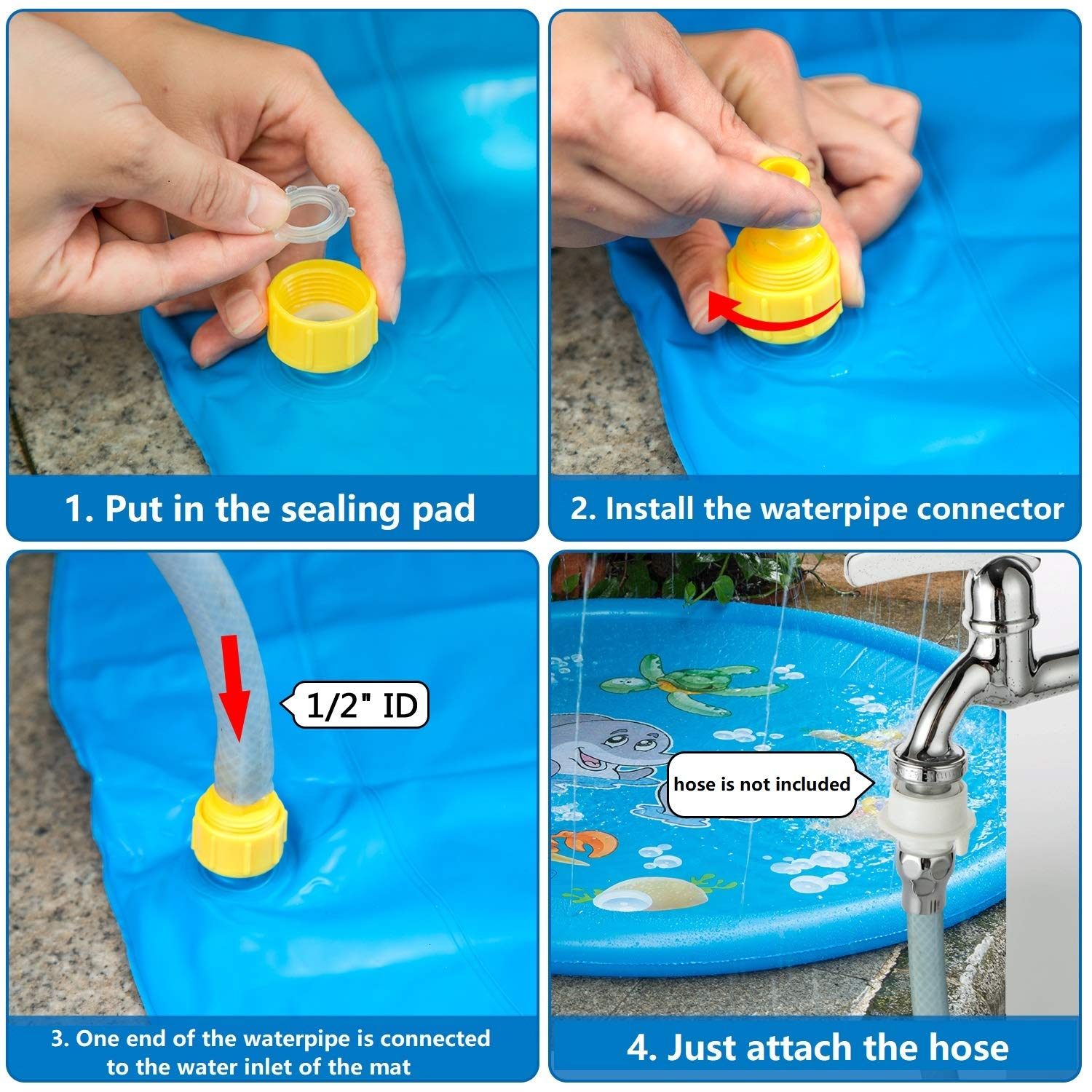 Makokun Splash Play Mat 39.37 Enhanced Durable PVC Outdoor Water Play Sprinklers Summer Fun Beach Outdoor Sprinkler Pad Play for Infants Toddlers Boys Girls and Kids Yellow