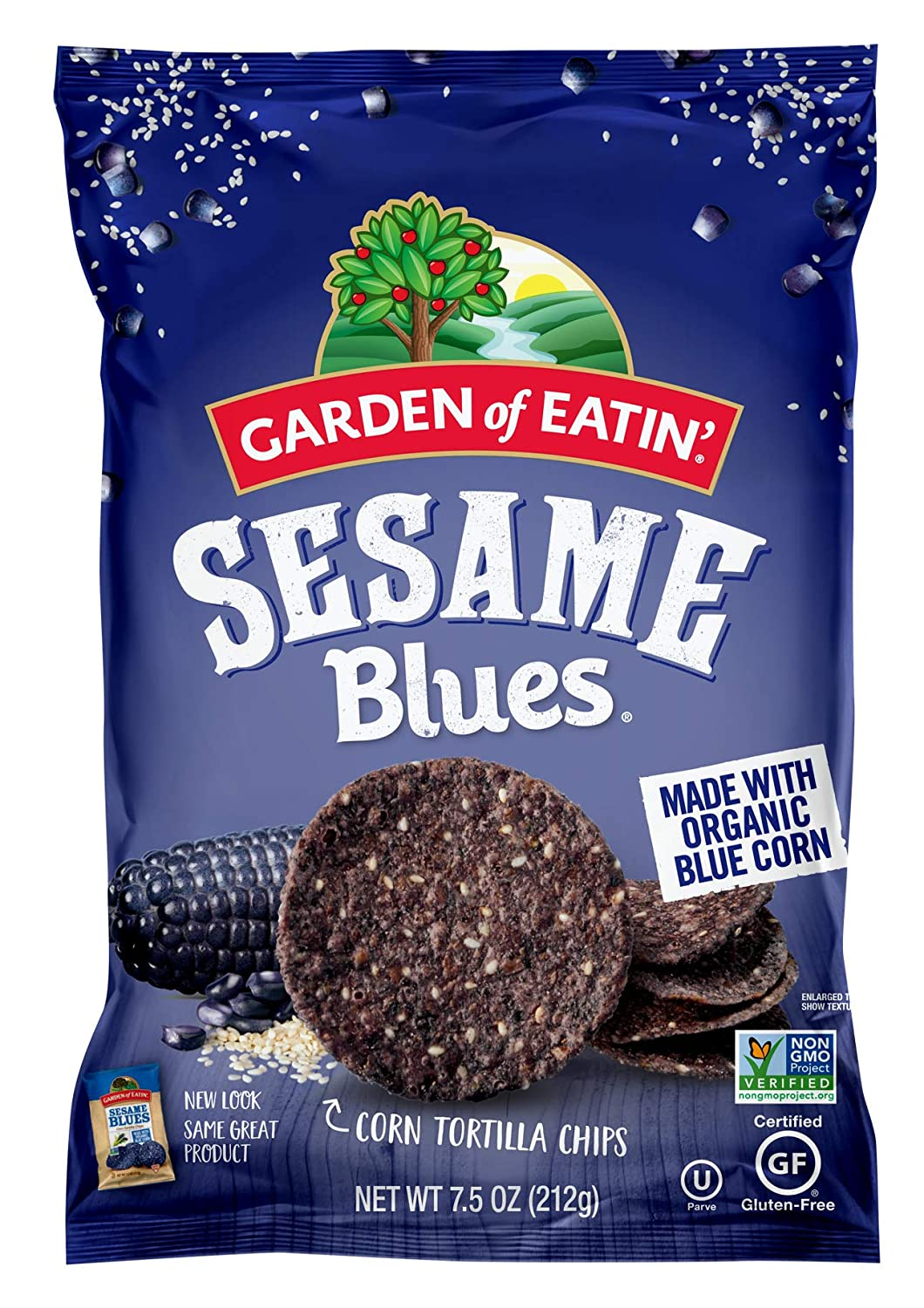 Garden of Eatin' Sesame Blues Corn Tortilla Chips, 7.5 oz. (Pack of 12) (Packaging May Vary)