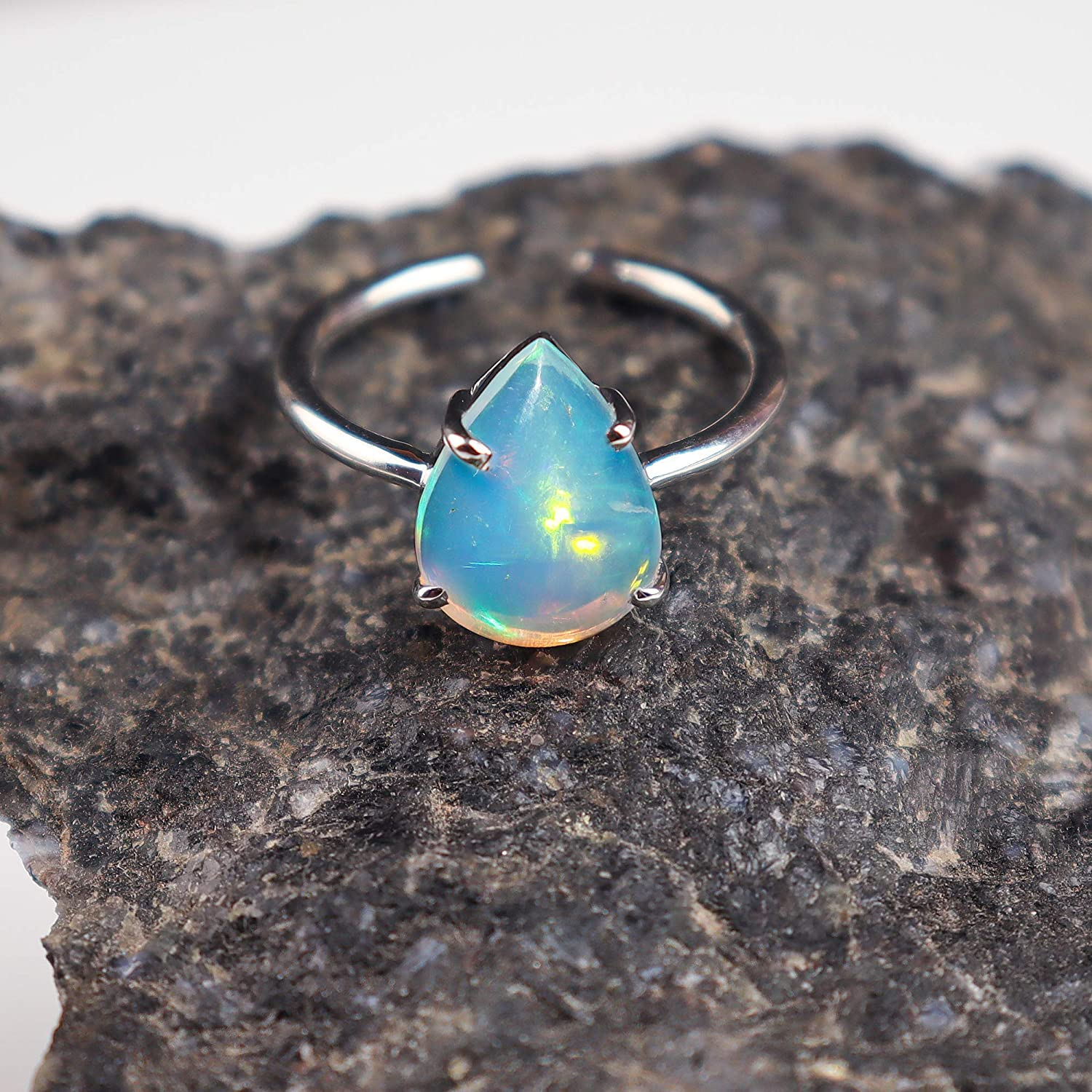 Natural Ethiopian Opal Cabochon Gemstone 1.80 Cts Attractive Multi Flashy Fire Ring Size Opal Gemstone For Making Spectacular Ring 10x7x4 MM