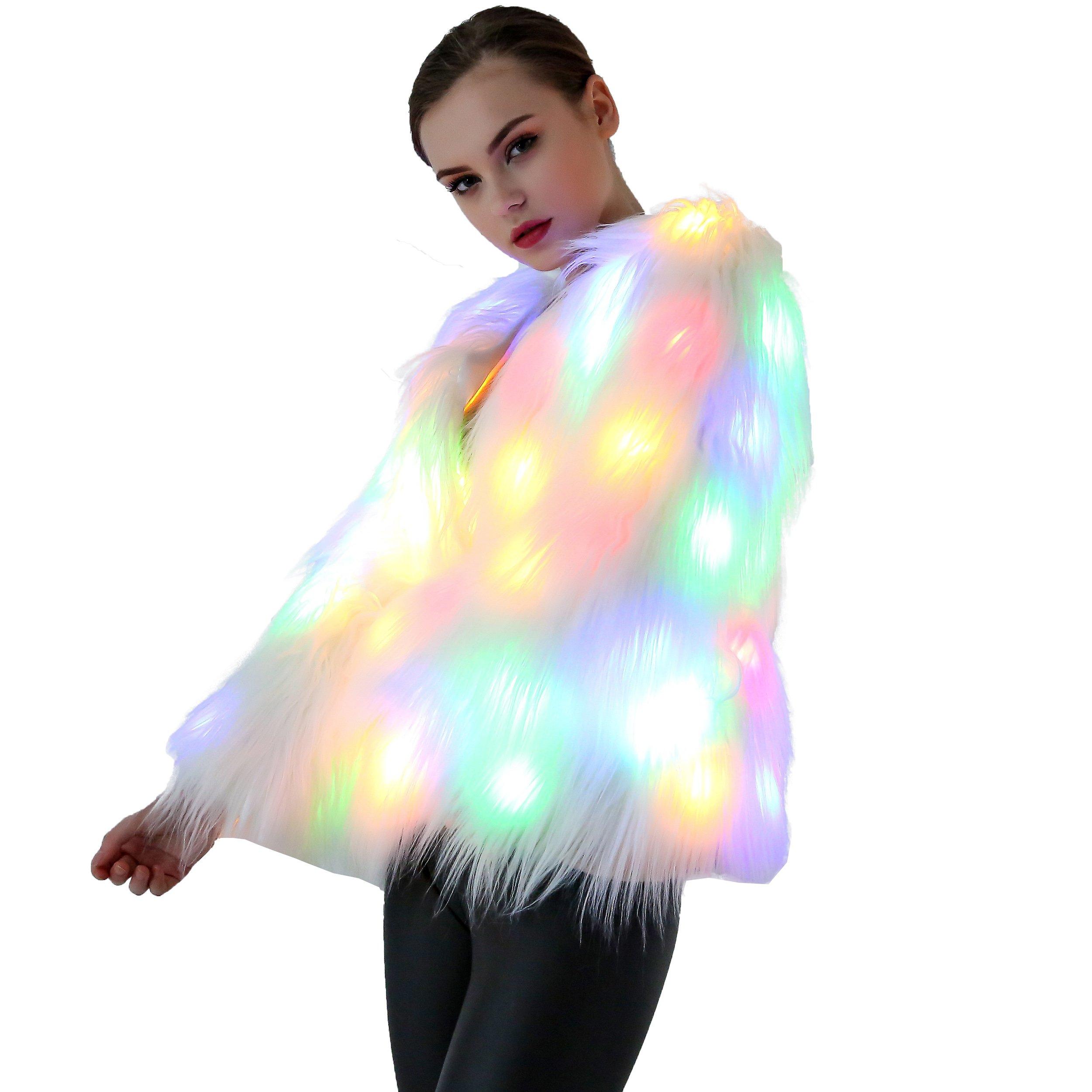 Caracilia Women Solid LED Light Up Rave Faux Fur Jacket Shaggy Tag XL 37/LED