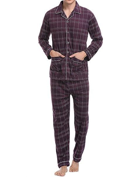 Aibrou Pijamas Hombre Invierno Algodón 2 Piezas Calentito Pijamas Hombre Otoño Algodón,Suave,Cómodo