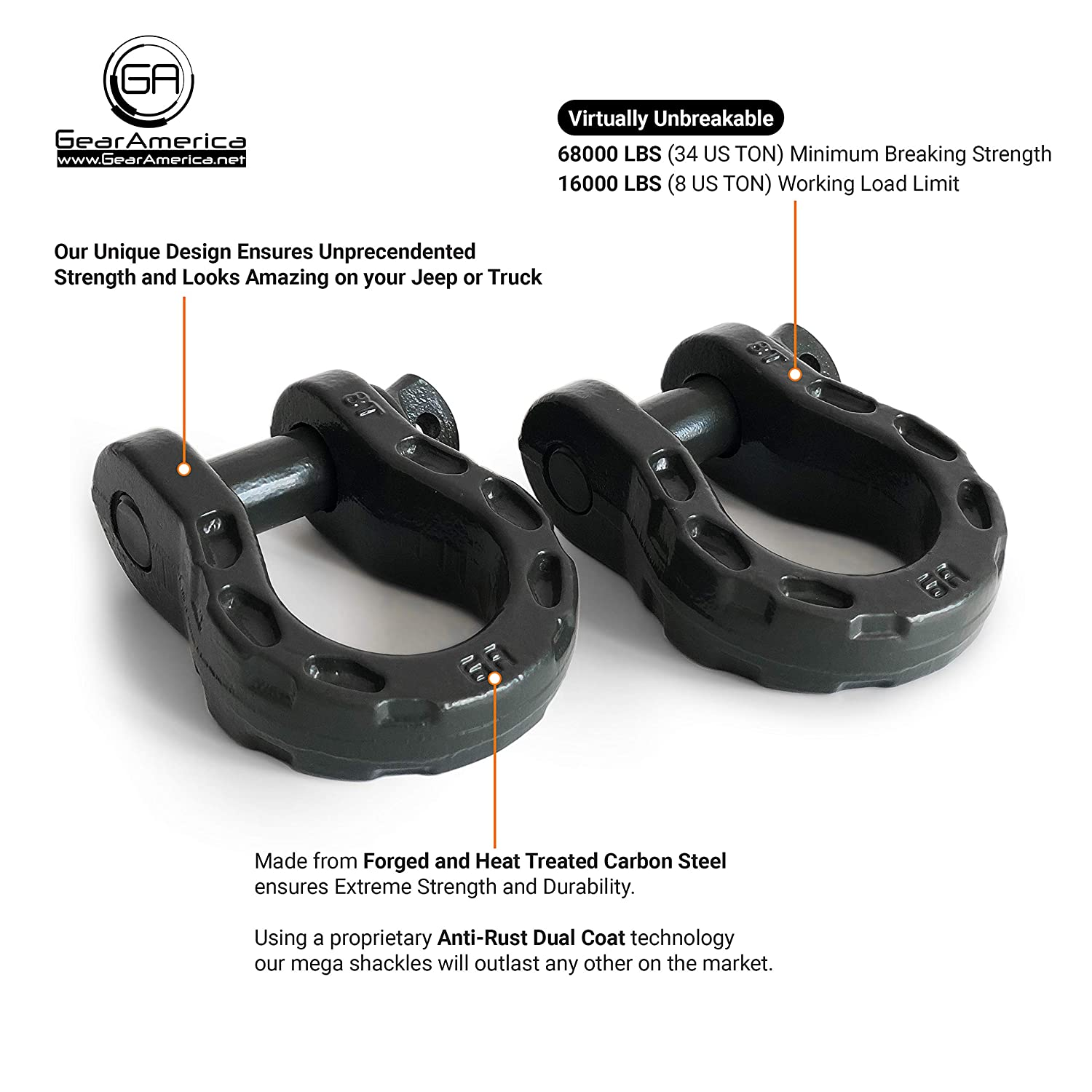 | 68000 lbs GearAmerica Mega Duty D Ring Shackles Gray Washers| Securely Connect Tow Strap or Winch Rope to Jeep for Off-Road 4x4 Recovery 7//8 Pin 2 PK 34 US Ton Strength 3//4 Shackle