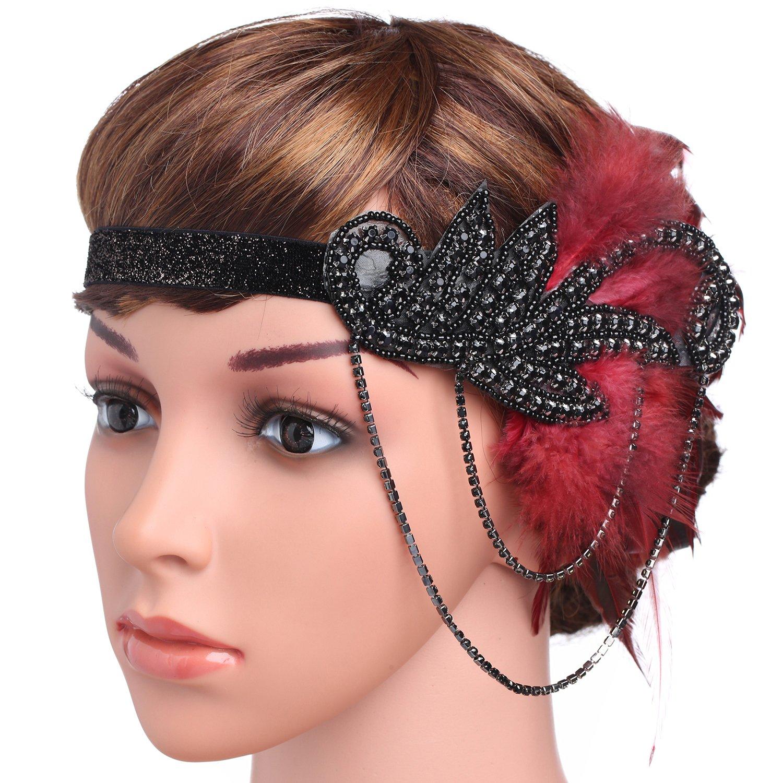 BABEYOND 1920s Flapper Headband Roaring 20s Great Gatsby Feather Headpiece