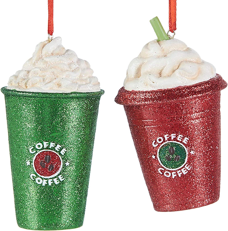 Raz Red Green Glitter Coffee Frappuccino 3.5 inch Polyresin Decorative Christmas Ornament, Set of 2